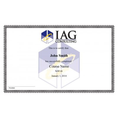 IAG Certificate SAMPLE