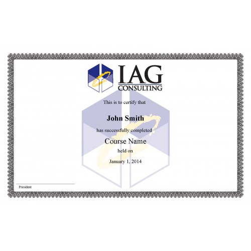 IAG Certificate SAMPLE  Course Completion Certificate Format